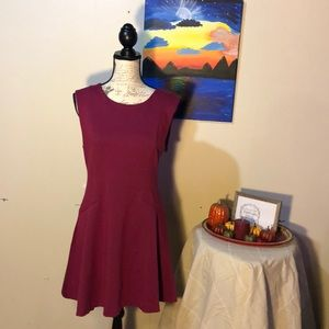 Free people maroon fit and flare dress Sz L